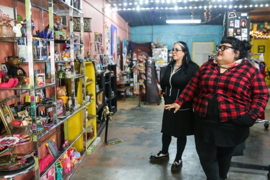Rocio Pena and Laura Hardy walk through their shop Friday, Oct. 19, 2018, at De Nada.
