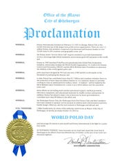 The Proclamation from Mayor Michael Vandersteen that Oct. 24 is World Polio Day.