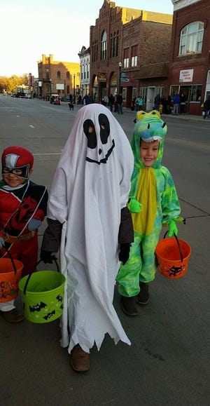 Costumed kids enjoy last year's Dell Rapids Trick or Treat Night. This year's event will be Friday.