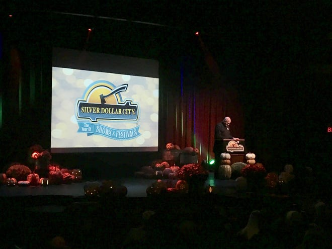 Brad Thomas, Silver Dollar City park president, announces new live acts and festivals for the Branson-area theme park's 2019 season during an all-employee town hall held on Oct. 19, 2018.
