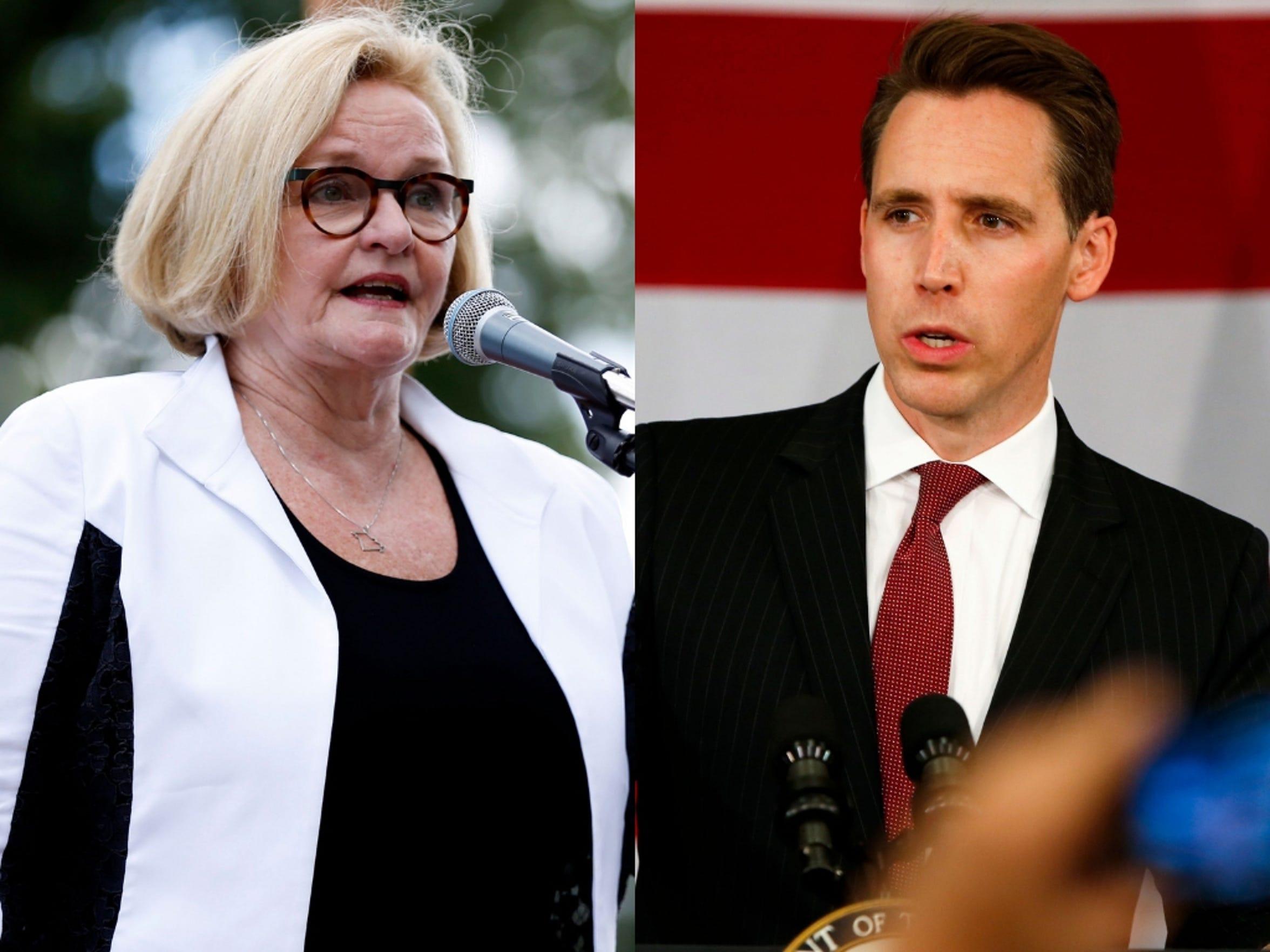 Democratic Sen. Claire McCaskill and Republican Josh Hawley will face off in the Nov. 6 election.