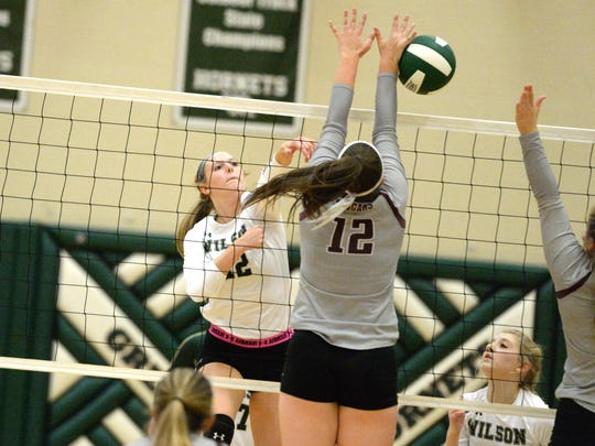 Wilson Memorial's Paris Hutchinson finished with 16 kills Thursday night in a win over Stuarts Draft.