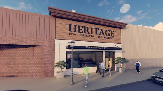 An artist rendering of what the Heritage on Main Street restaurant will look like from the front.