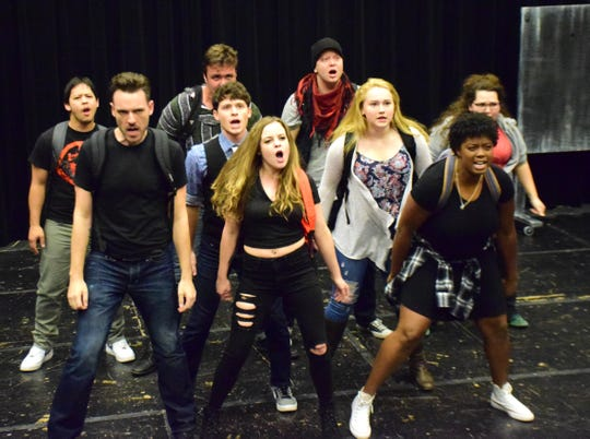 "The cast of ""Carrie: The Musical"" rehearses a scene on Thursday, October 18, 2018, at Blue Ridge Community College in Weyers Cave, Va. The show, directed by Dustin Roadcap, left, runs from Oct. 25 through 28 at the Fine Arts Center Theatre."
