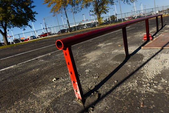 Volunteers have started adding features to a temporary skate park Tuesday, Oct. 16, located in Highway Park at 25th Avenue S. and Roosevelt Road in St. Cloud.