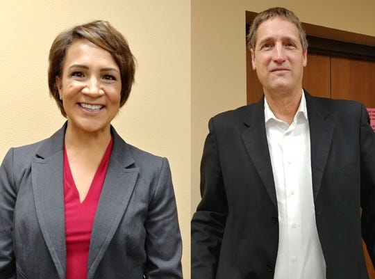 House District 13A candidates Lisa Demuth (GOP) and Jim Read (DFL) after a forum in Avon on Thursday, Oct. 18.