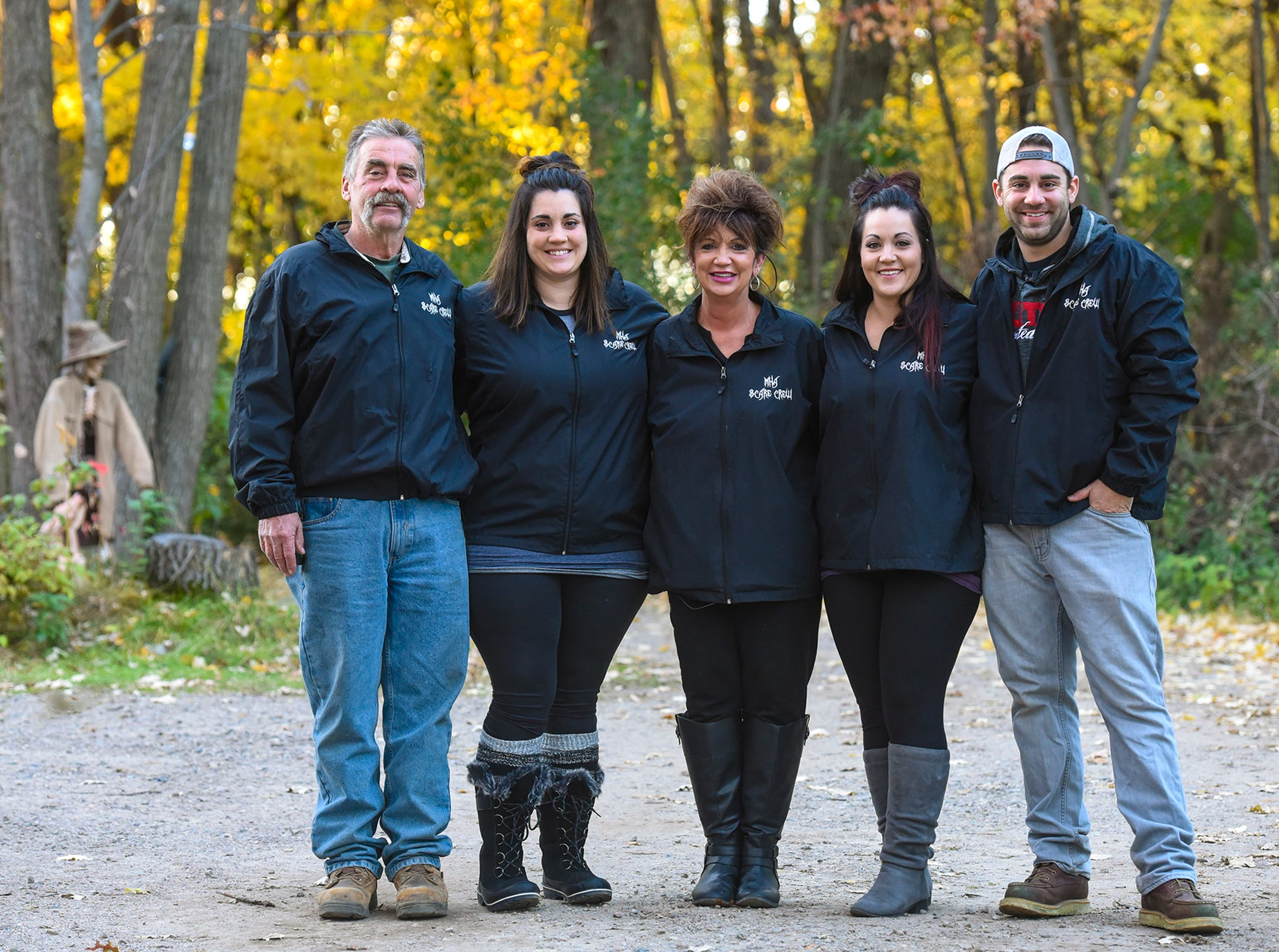 The Molitors, Ron, Cara, Tammy, Caden and Ron II, are pictured Thursday, Oct. 18, at Molitor's Haunted Acres in Sauk Rapids.