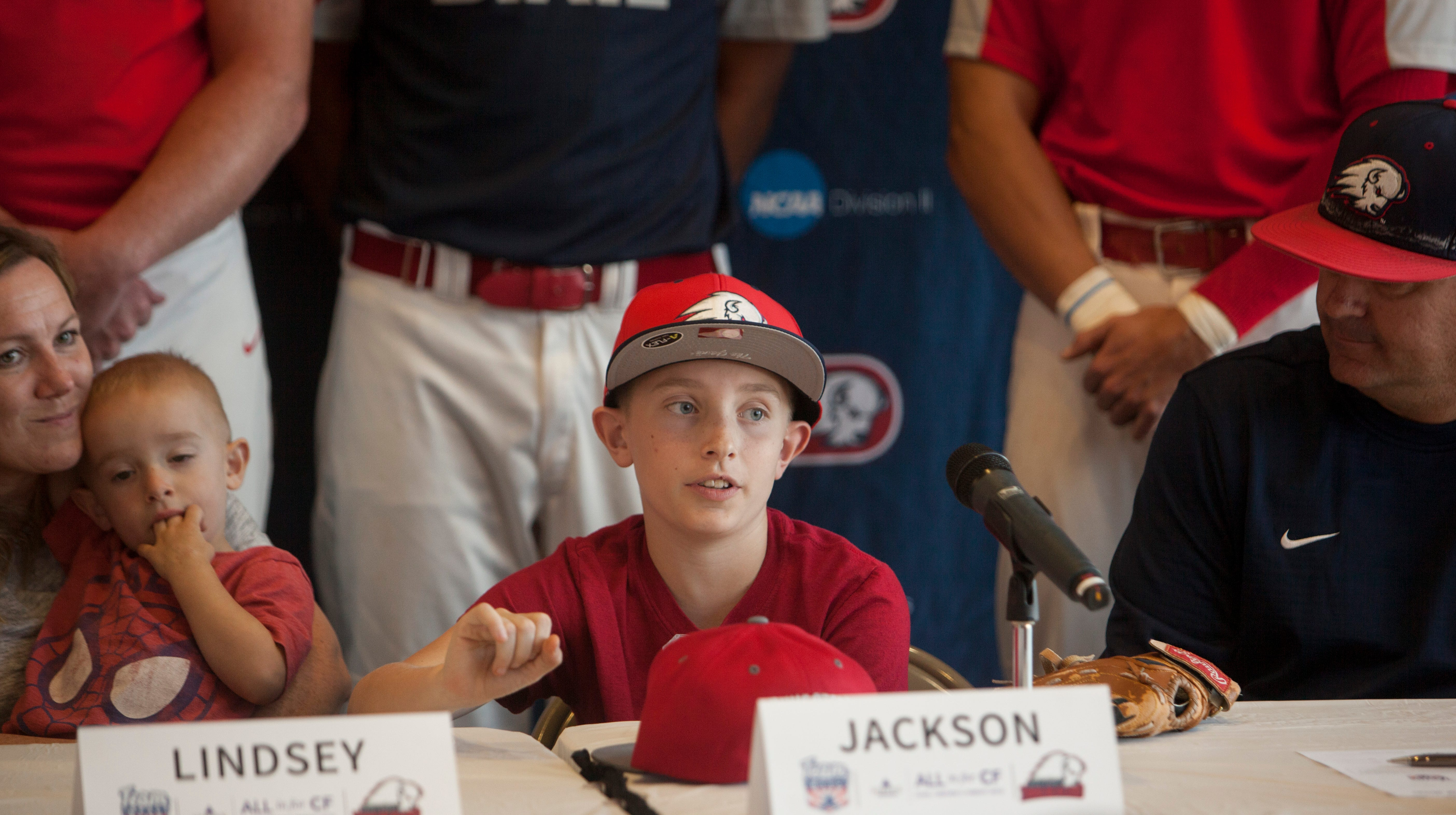 Jackson Keith signs a national letter of intent with the DSU baseball team Thursday, Oct. 18, 2018.