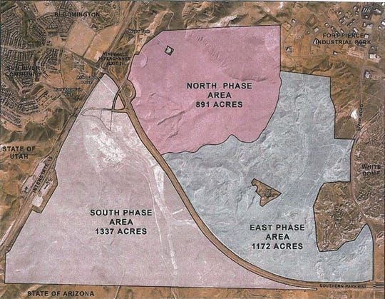 Plans submitted to the City of St. George show the rough outline of a three-phase development plan at 'Desert Color,' a 3,350-acre community master planned along the Arizona border. The south phase, which received a series of zone change approvals from the city council this week, would include an estimate 5,900 units, including homes, shopping, parks, artificial lakes and other amenities.