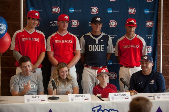 Jackson Keith signing his national letter of intent with (from left to right): Parker Schwers, Braxton Ipson, Jack Gonzalez and Wyatt Branch of the DSU baseball team on Thursday, Oct. 18, 2018.