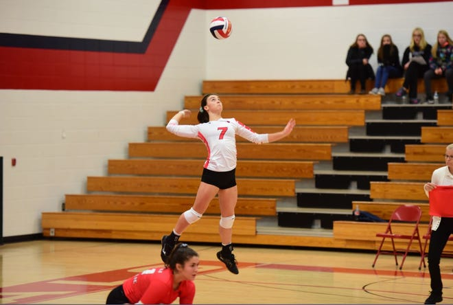 Karah Kluck of Pacelli jump serves on Thursday during a WIAA Division 3 regional semifinal against Amherst. Photo courtesy of Lynn Hintz