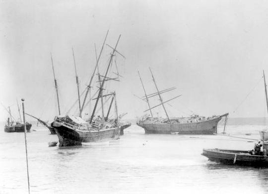 Ships were wrecked on Dog island during a hurricane in 1899. Several were unearthed by Hurricane Michael last week.