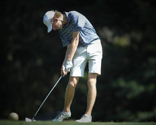 Maclay senior Cole Miller tees off during the District 1-1A boys and girls golf tournaments at Southwood Golf Club.