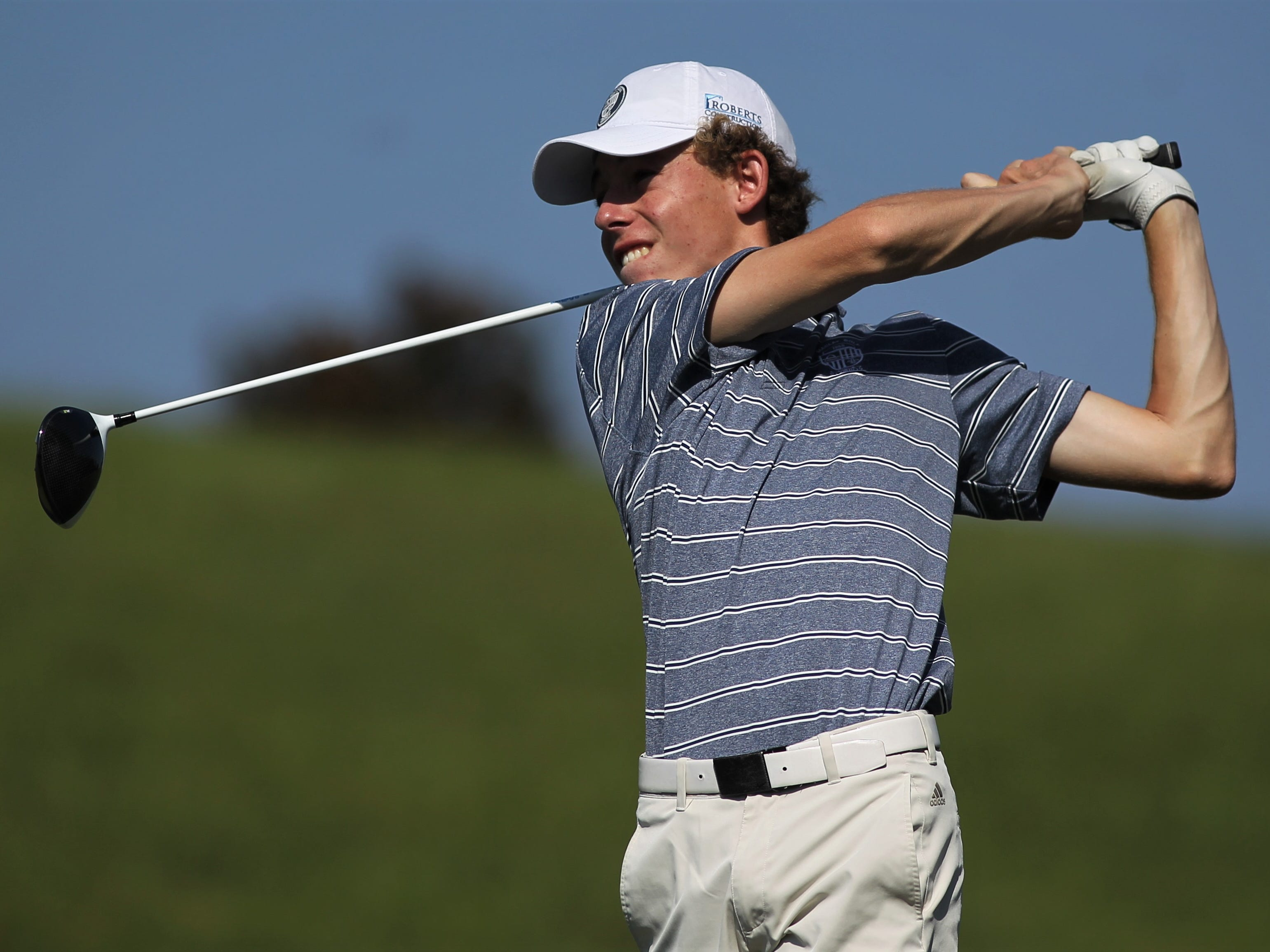 Maclay's Cole Miller plays during the District 1-1A boys and girls golf tournaments at Southwood Golf Club.