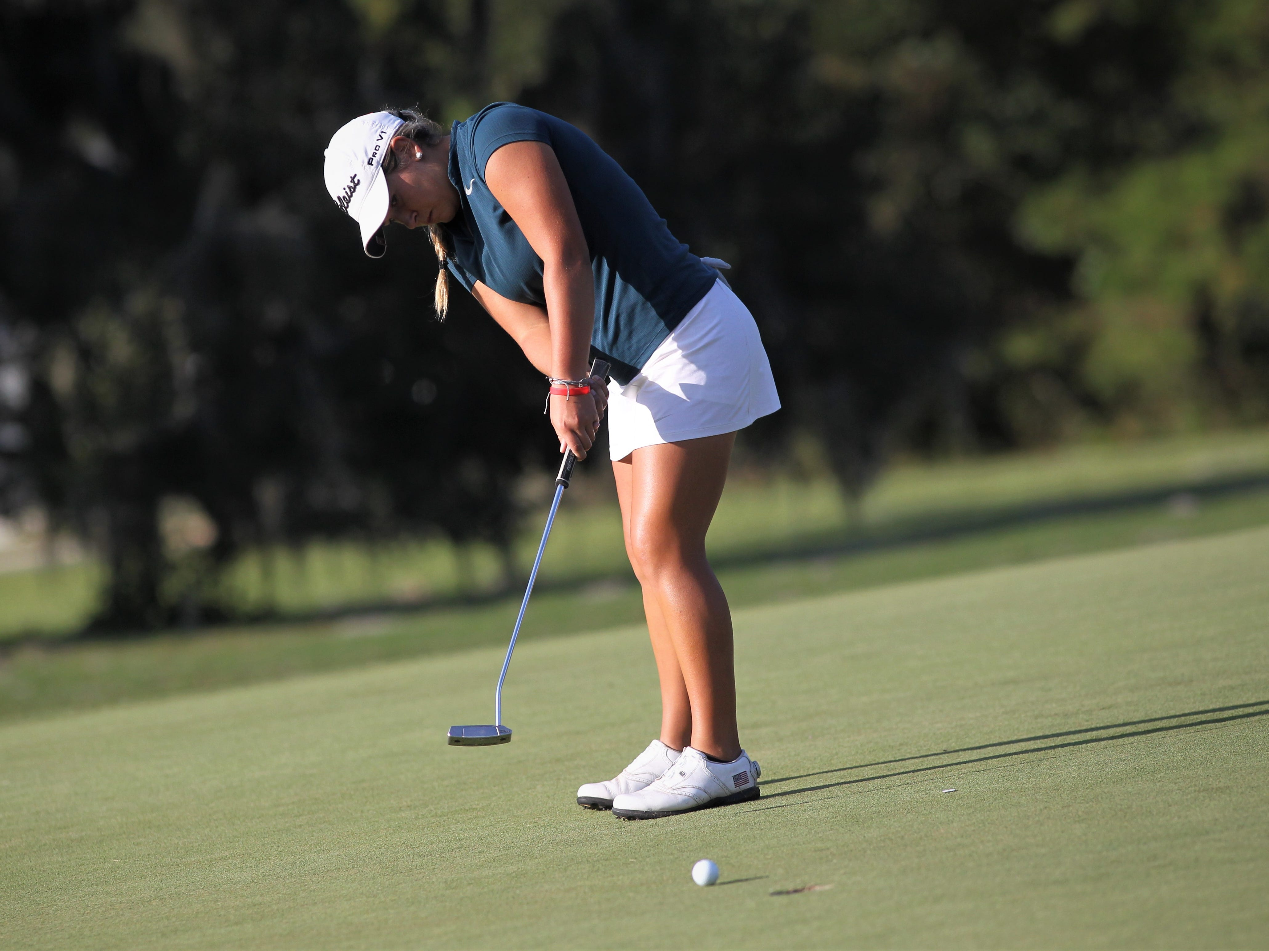 Aucilla Christian's Megan Schofill plays during the District 1-1A boys and girls golf tournaments at Southwood Golf Club.