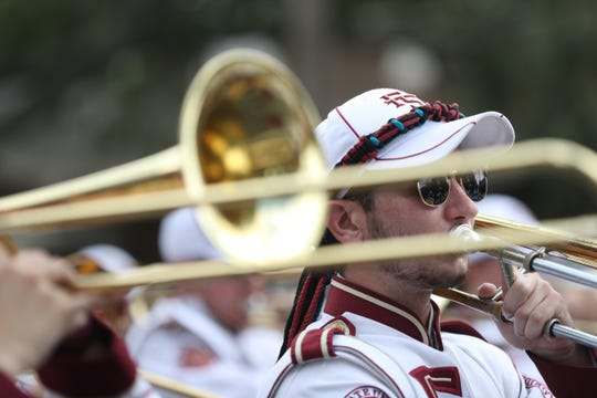 Florida State University held its annual homecoming parade through the streets of Tallahassee Friday, Oct. 19, 2018. The Marching Chiefs play as Florida State University holds its annual homecoming parade through the streets of Tallahassee Friday, Oct. 19, 2018.