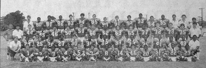 Vero Beach's 1981 state championship football team picture. Team members included (front row, from left)  front row, from left: Matt Livings, Anthony Simmons, Dwight Neely, Barry Williams, Robin Yencho, Mitch Kuykendall, Bobby Jones, Jerome Plair, Todd Fennell, Duane Drisdom, Kevin Snyder, Marvin Godwin, Will Hill; (second row, from left) assistant coach Jon Thames, Art Sands, Brian Gronquist, Shelton Jones, Clifford Sanders, Bob Toomey, Antoine Jones, Lorenzo Jefferson, David Wallace, Vincent Alexander, Matt Sims, Mark Bellamy, Rickey Smith, Tony Barber, assistant coach Bill Wilson; (third row, from left) head coach Billy Livings, assistant coach Richard Vasquez, Rich Cunningham, Frank Johnson, Michael Johnston, Kent Stanton, Jack Perko, Allen Bisig, Steve Davidson, Robert Lystlund, Billy Offutt, Dennis Sanders, Charlie Moody, Alan Walton, David Brooks, assistant coach Greg Ahrens; (back row, from left) assistant coach Doug Baker, Escoe Bell, Dickie Williams, Victor Smith, Brian Connelly, Eric Barkett, Zander Clem, Jump Cappelen, David Carter, Donnie Robinson, Terry Green, Mark Reisman, Willie Harris, assistant coach Wayne Griffith, assistant coach Gary Coggin, assistant coach Pete Puccio.