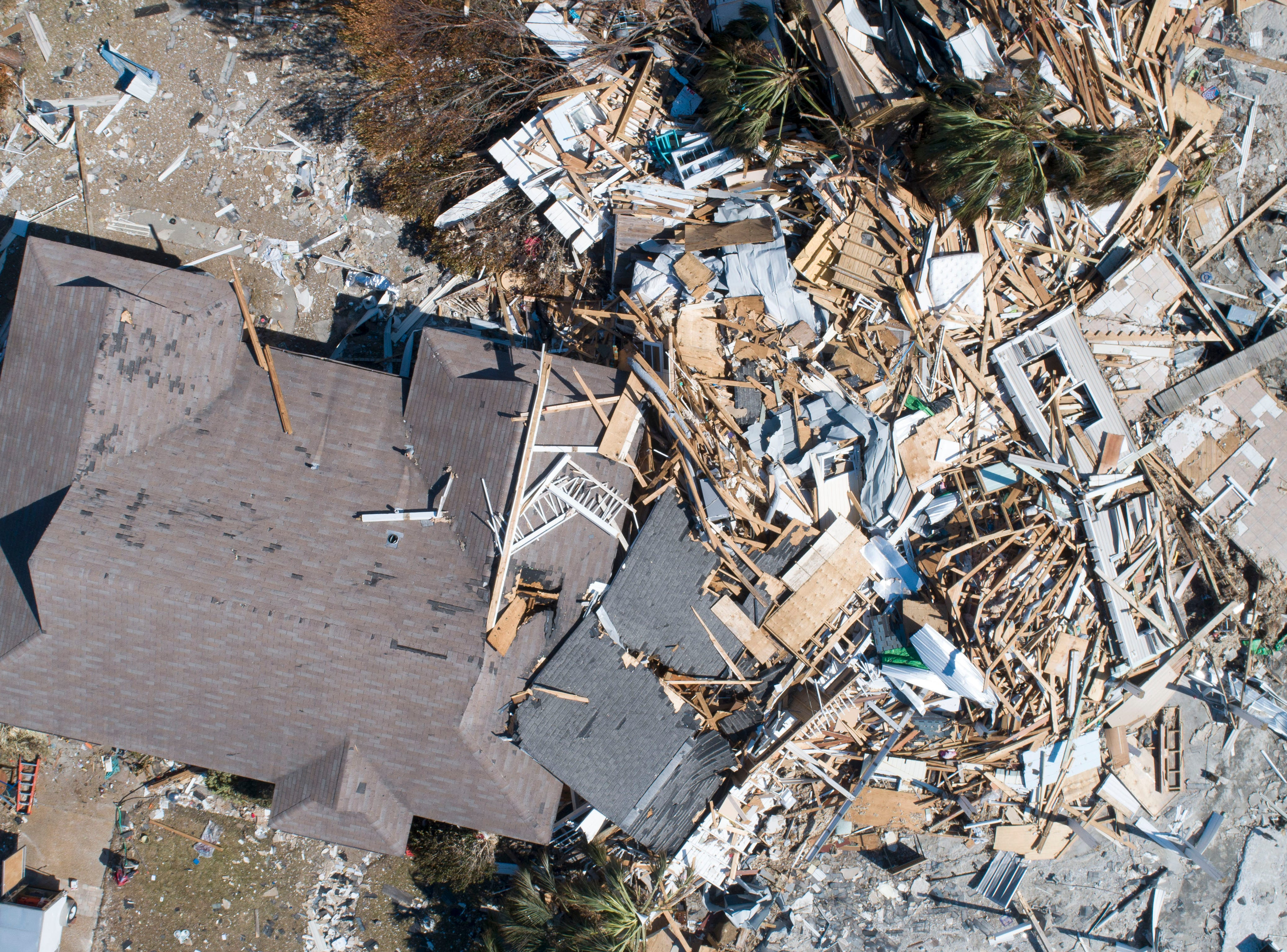 An aerial view of a home in Mexico Beach, Florida, shown Tuesday, Oct. 16, 2018, that was completely destroyed by Hurricane Michael one week earlier.