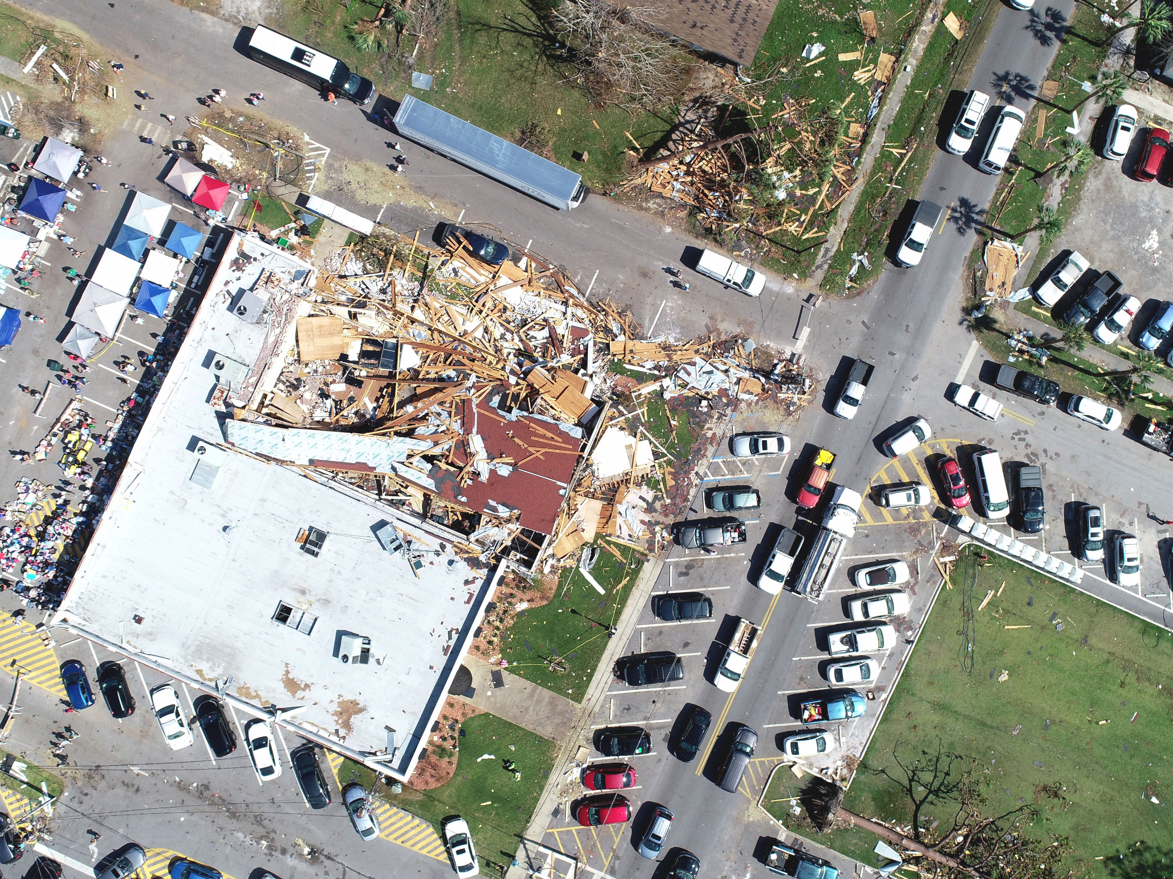 An aerial view of the police department on Wednesday, Oct. 17, 2018, in Lynn Haven, Florida, one week after Hurricane Michael made landfall in the Panhandle.