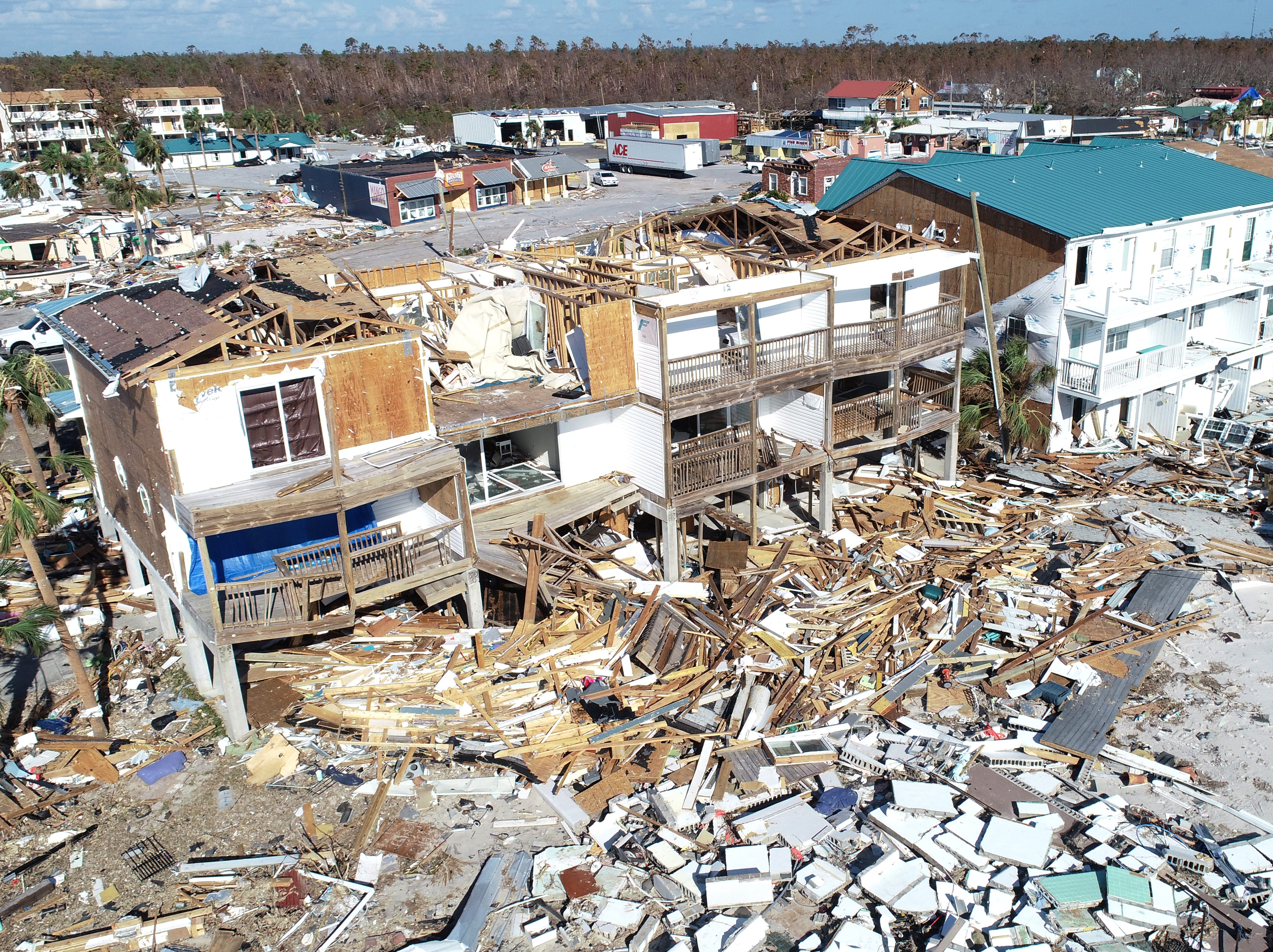 Homes in Mexico Beach, Florida, shown Tuesday, Oct. 16, 2018, were completely destroyed when Hurricane Michael made landfall there a week earlier.