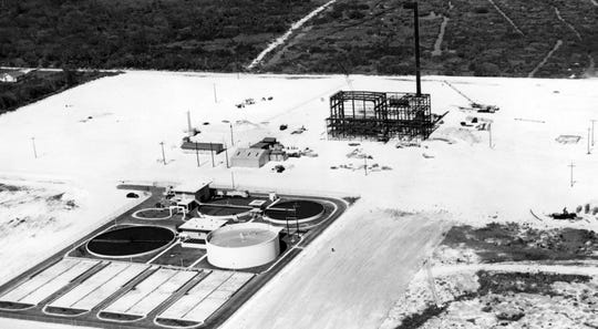 February 27, 1961: Aerial view of the Vero Beach Sewer Plant with the Vero Beach Power Plant construction in background.