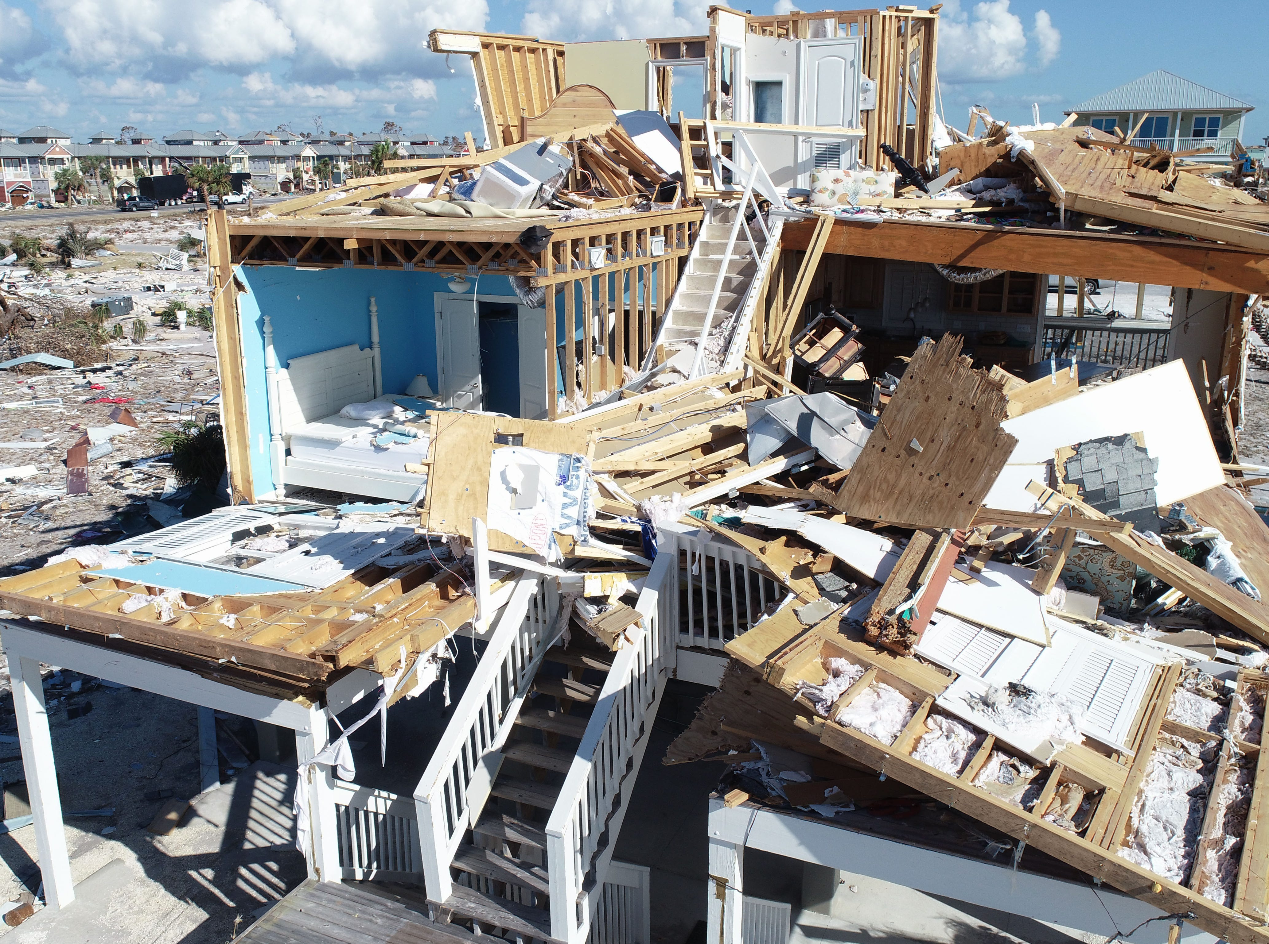 This home in Mexico Beach, Florida, shown Tuesday, Oct. 16, 2018, sustained catastrophic damage when Hurricane Michael ripped through the city in Florida's Panhandle.