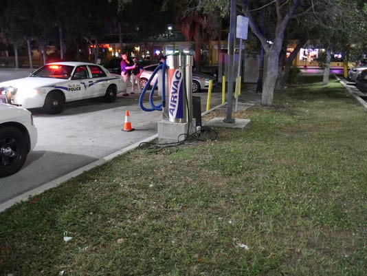 The parking lot where a man was shot in the neck in Port St. Lucie on Thursday night