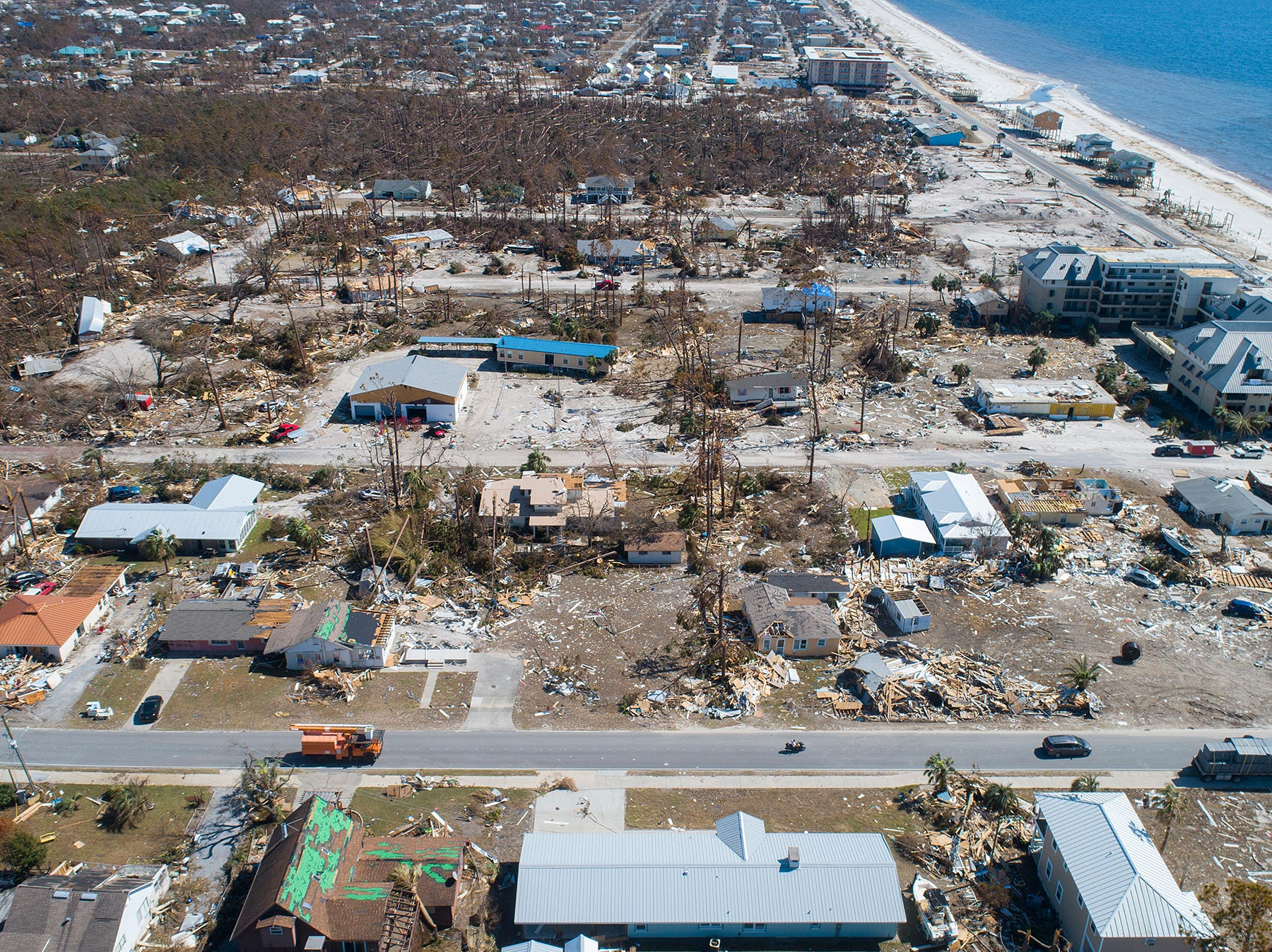 An aerial image shows catastrophic damage Tuesday, Oct. 16, 2018, in Mexico Beach, Florida. Hurricane Michael clobbered city in Florida's Panhandle a week earlier.
