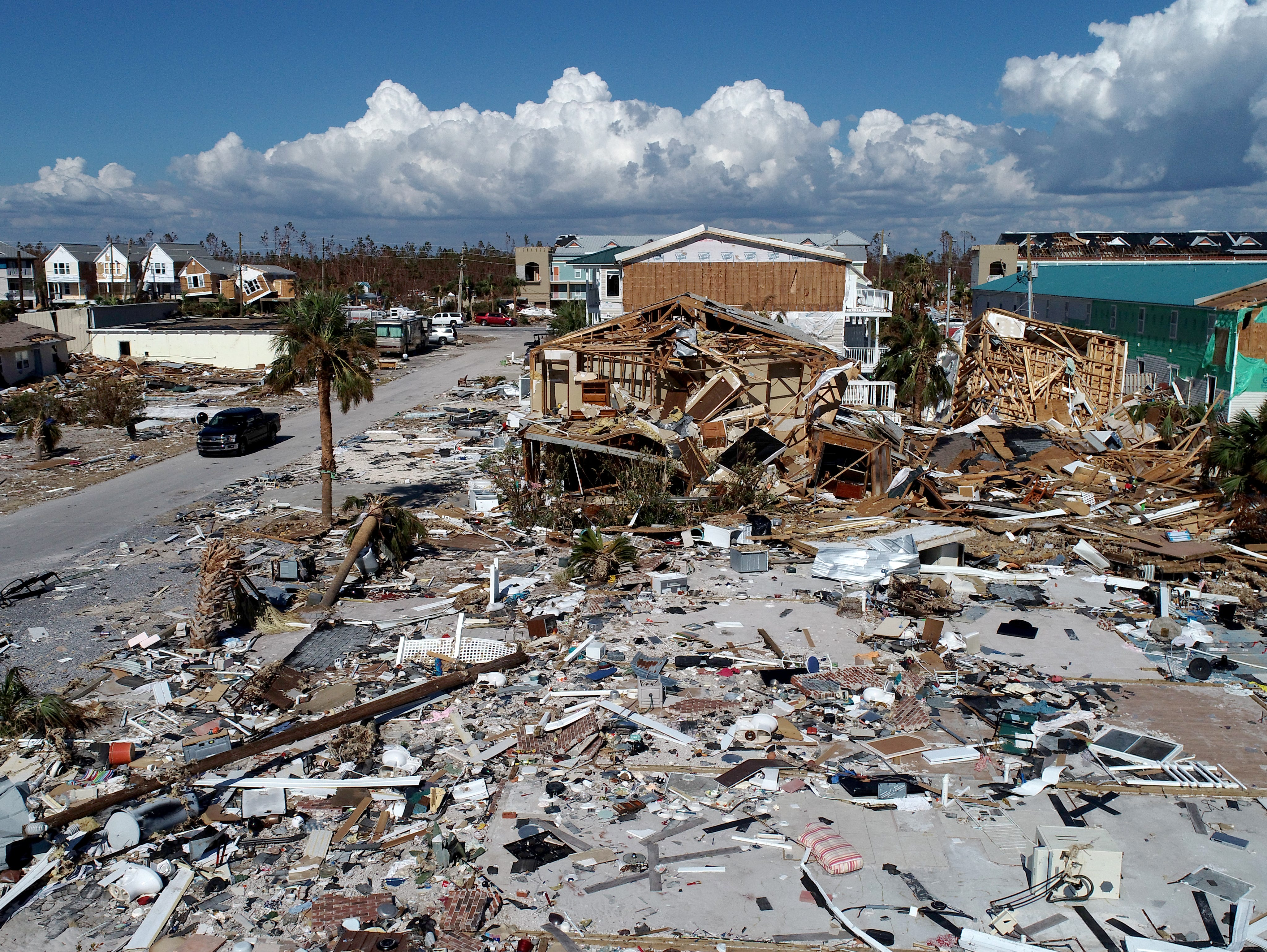 A home in Mexico Beach, Florida, shown Tuesday, Oct. 16, 2018, sustained catastrophic damage after Hurricane Michael made landfall there one week earlier.