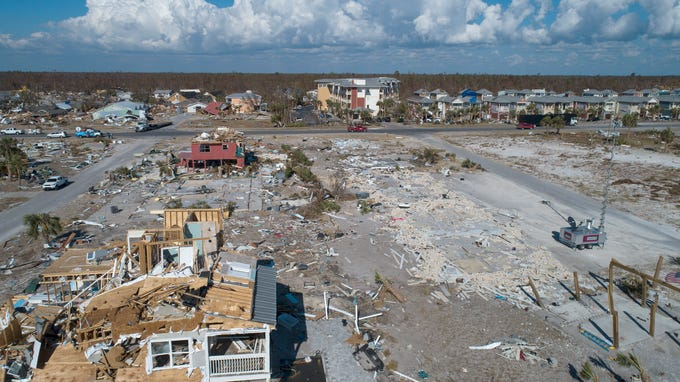 Homes, shown Tuesday, Oct. 16, 2018, sustained catastrophic damage when Hurricane Michael roared ashore, making landfall in Florida's Panhandle.