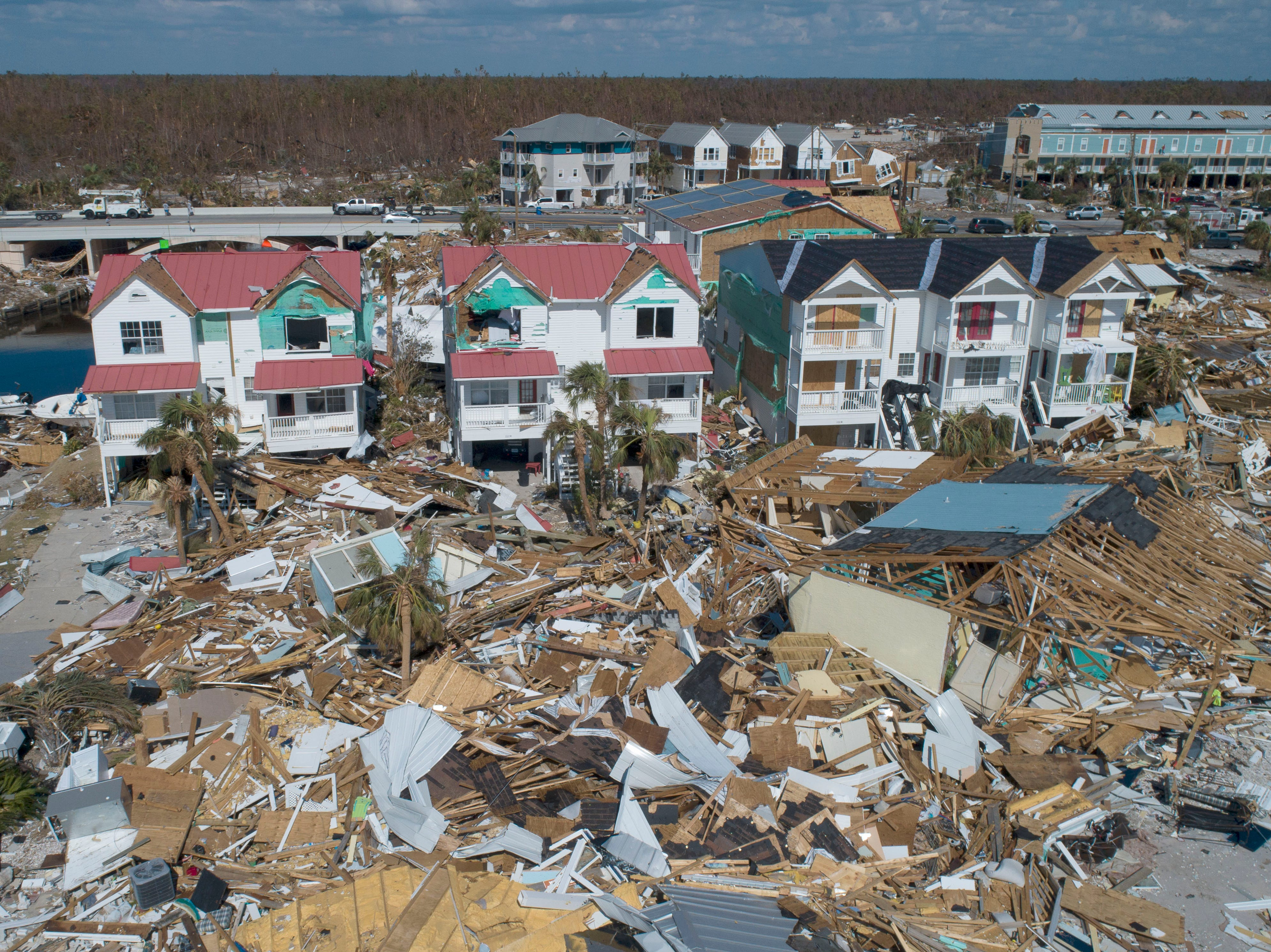 Homes, shown Tuesday, Oct, 16, 2018, in Mexico Beach, Florida, sustained catastrophic damage after Hurricane Michael made landfall Oct. 10, 2018.