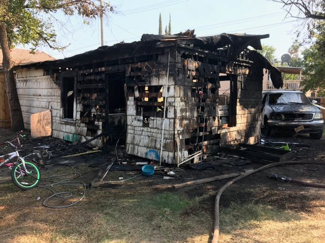 This Tulare mother-in-law suite was destroyed by flames Friday afternoon.