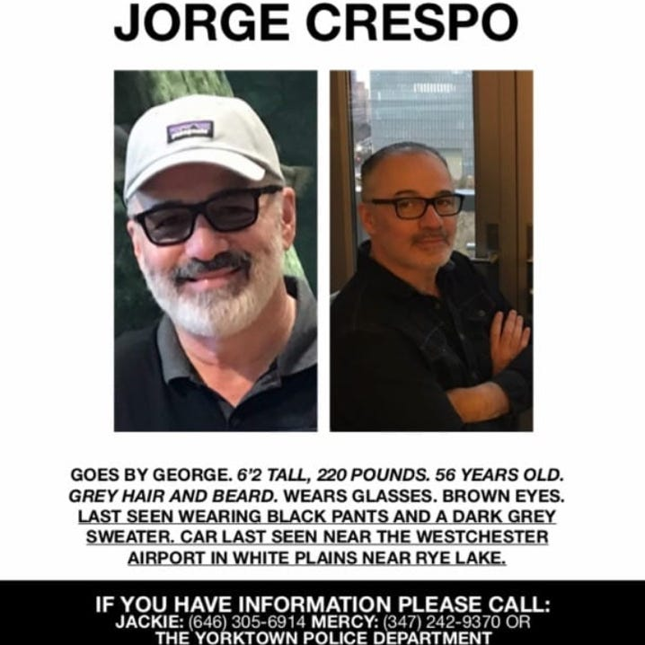 Jorge Crespo of Yorktown, missing Yonkers teacher, found dead