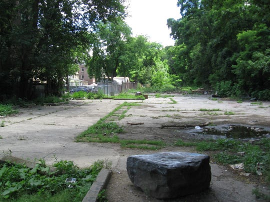 An abandoned playground where the Yonkers Greenway will be developed.