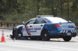 Raw video of Westchester County Police car accident with another vehicle on Route 9 in Mount Pleasant.