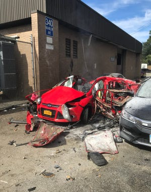 A Metro-North Railroad employee was injured when his car exploded at a railroad train yard at 340 Haarlem Ave. in North White Plains, Friday, Oct. 19, 2018.