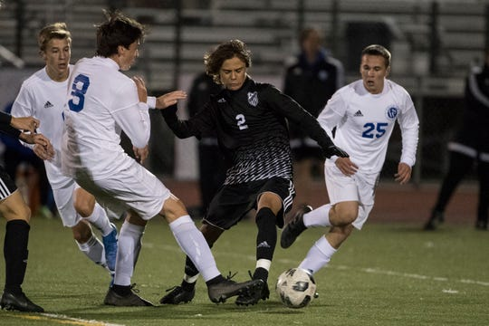 Appoquinimink's Colby Niggebrugge (2) looks for open space in a game against Charter of Wilmington.