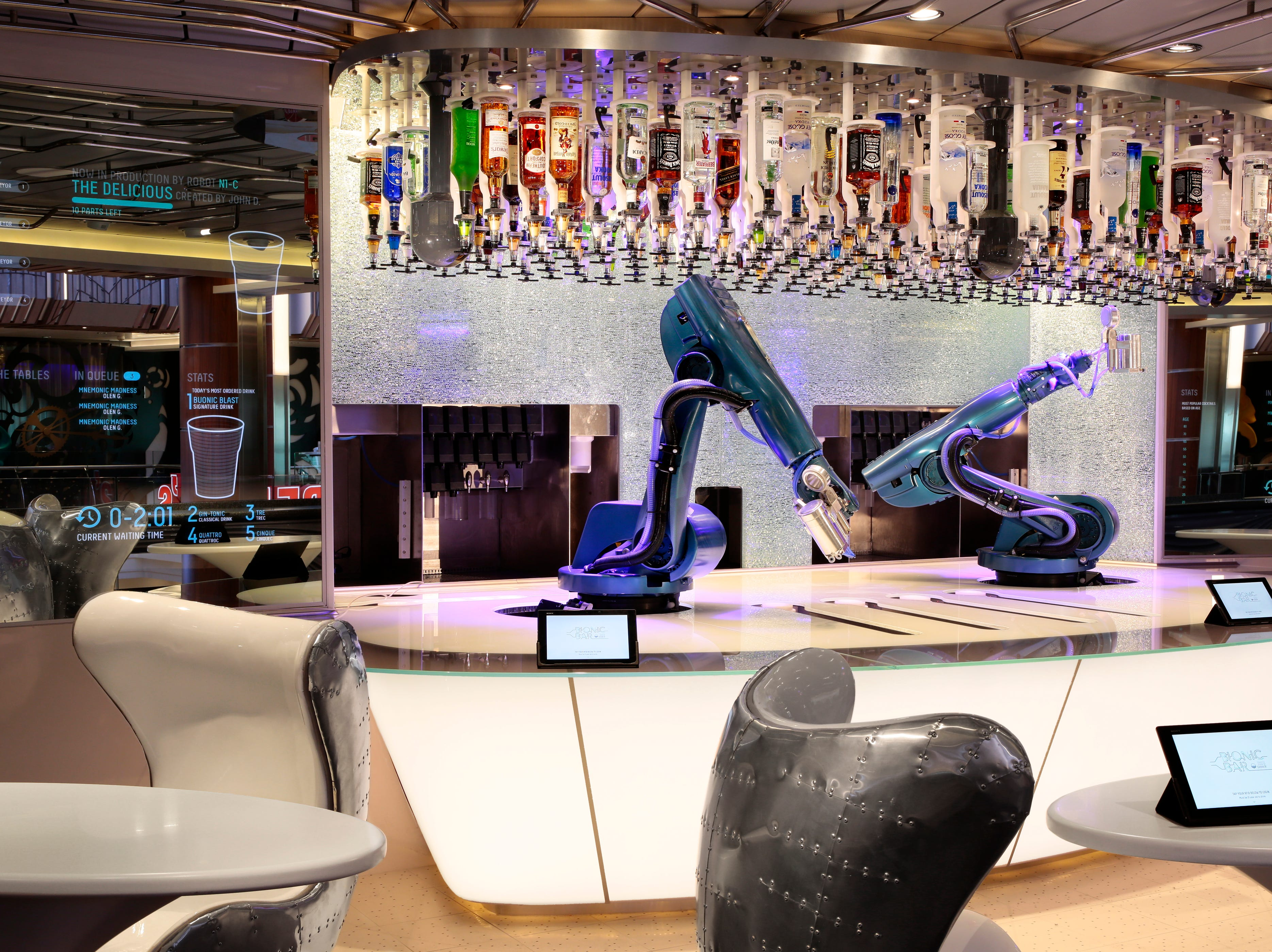 "Perhaps the most unusual bars at sea are the ""bionic bars"" with robot bartenders found on several Royal Caribbean ships. The first one appeared in 2014 on the line's new Quantum of the Seas"