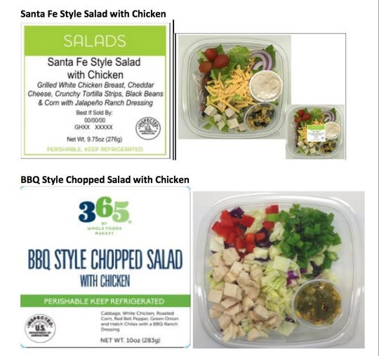 "Whole Foods was among retailers recalling some ready-to-eat products made with corn for possible listeria and salmonella risks. Among the products recalled Oct. 17 were ""Santa Fe Style Salad with Chicken"" and  ""365 By Whole Foods Market BBQ Style Chopped Salad with Chicken."""