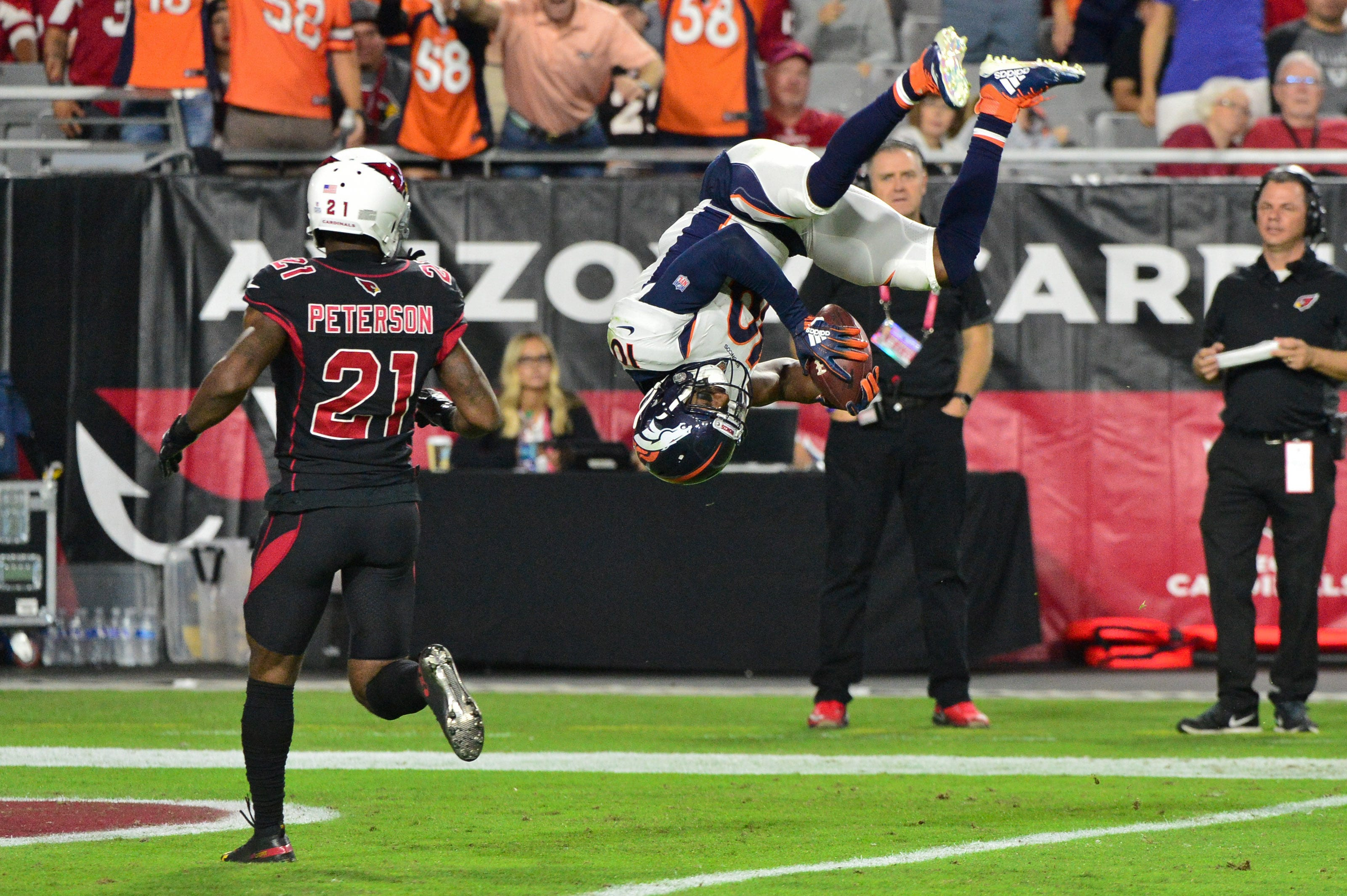 Denver Broncos wide receiver Emmanuel Sanders flips into the end zone against the Arizona Cardinals at State Farm Stadium.