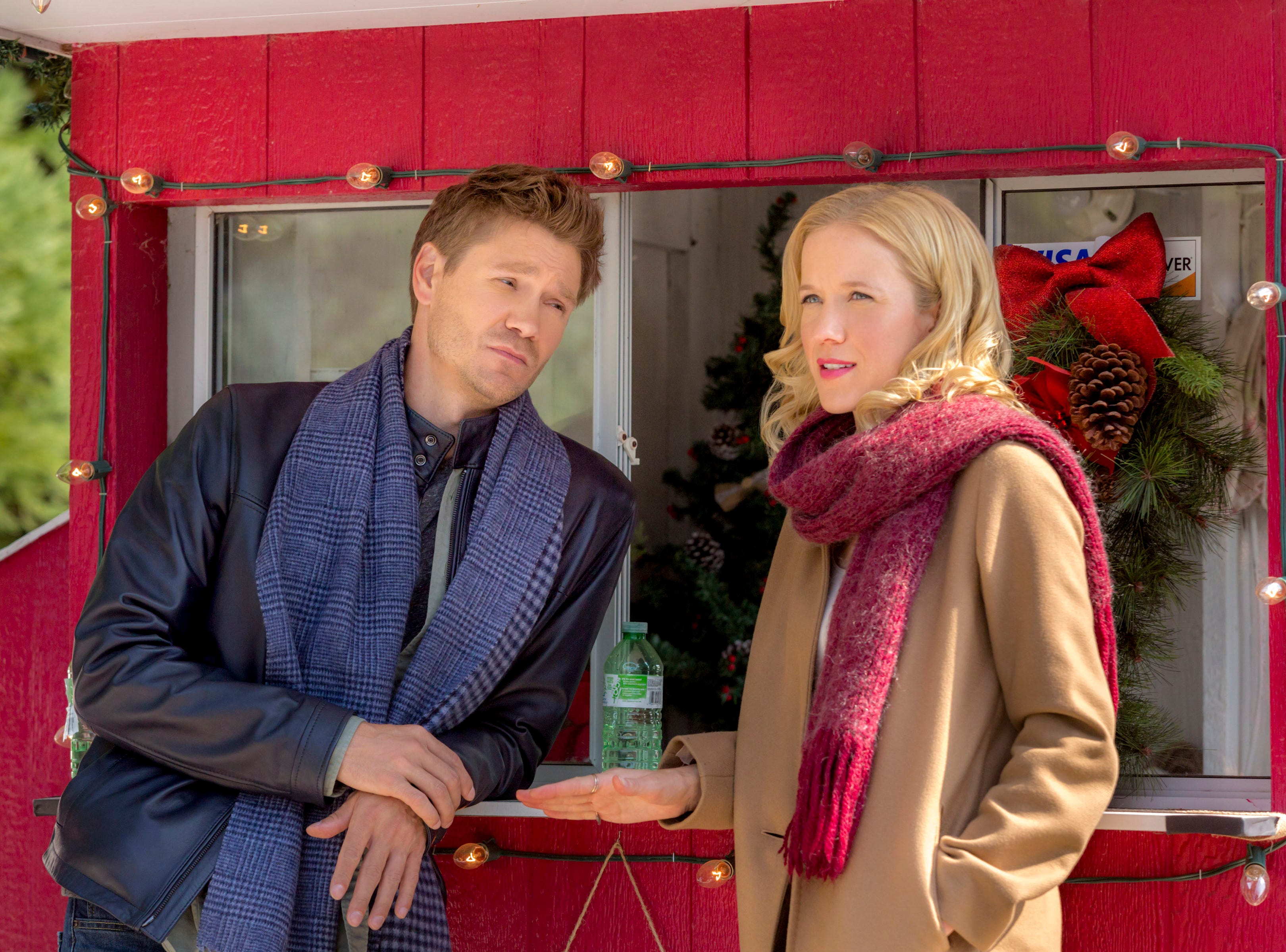 """""""Road to Christmas"""" (Hallmark, Nov. 4, 9 EST/PST): Jessy Schram (""""Nashville"""") is Maggie Baker, a television producer who is forced to bring on former producer Danny Wise (Chad Michael Murray, """"One Tree Hill"""") to help her with an annual Christmas TV special."""