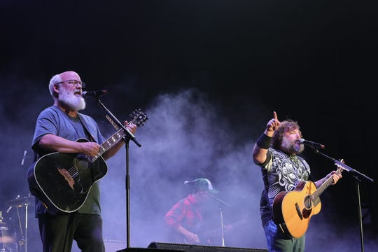 Jack Black and Kyle Gass of 'Tenacious D' perform onstage during Cal Jam 18 at Glen Helen Regional Park on October 06, 2018.