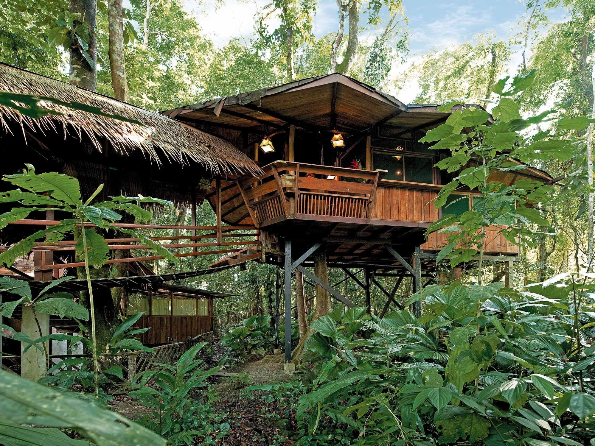 The Costa Rica Tree House Lodge is built within the boundaries of the Gandoca-Manzanillo Wildlife Refuge, where tours of the rainforest can be arranged.