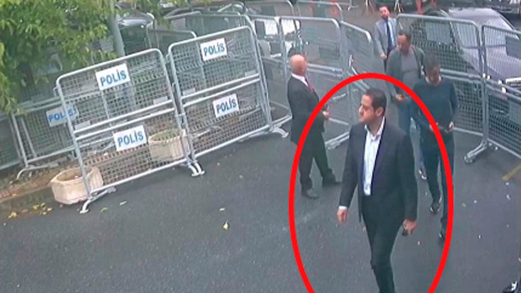 Surveillance camera footage taken on Oct. 2 shows a man identified by Turkish officials as Maher Abdulaziz Mutreb outside the Saudi Consulate in Istanbul before writer Jamal Khashoggi disappeared. Maher Abdulaziz Mutreb is a frequent companion of Saudi Arabia's crown prince.