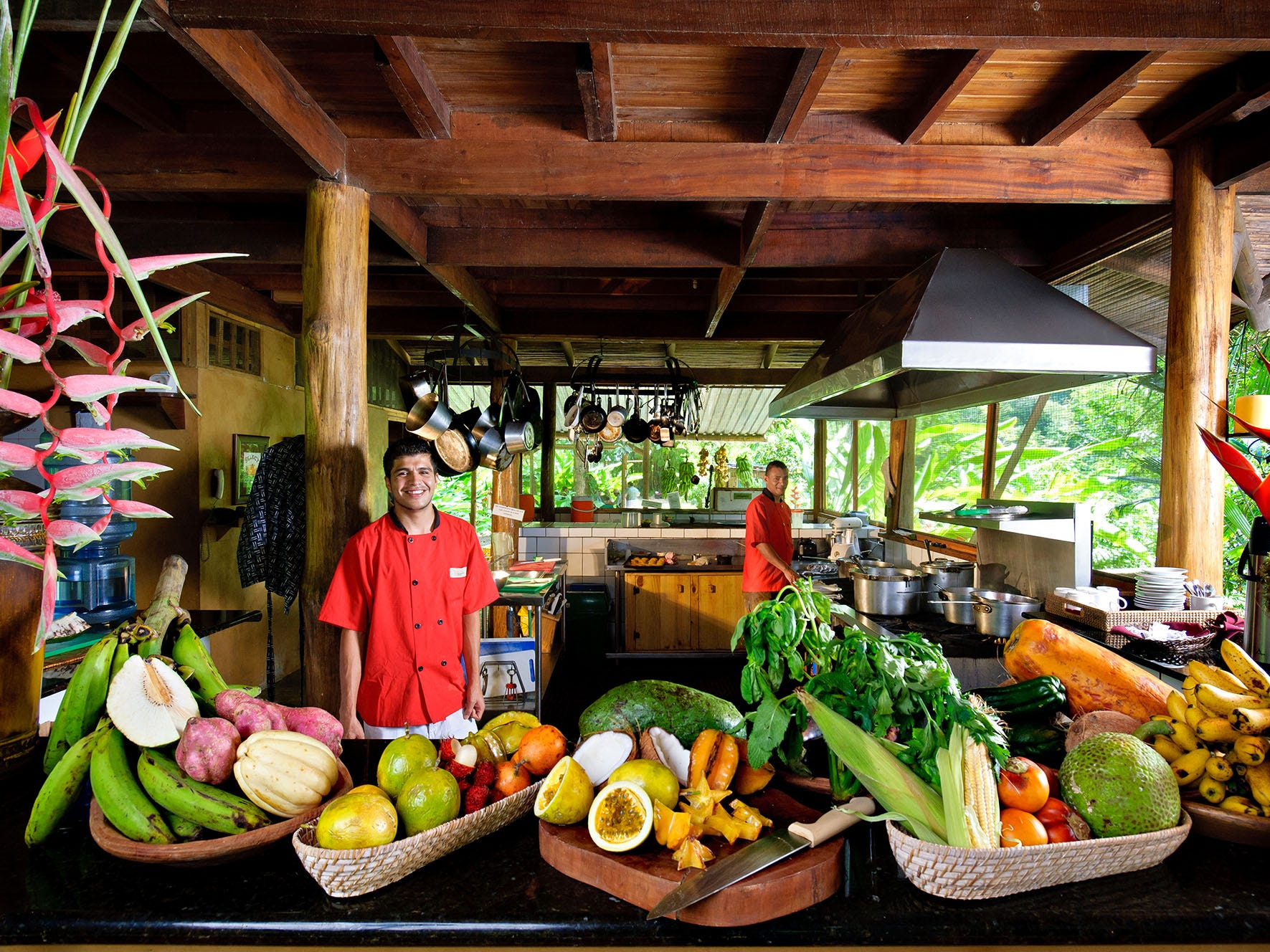 The kitchen at Pacuare Lodge is supplied by the lodge's organic farm, and dinners are three-course affairs by candlelight.