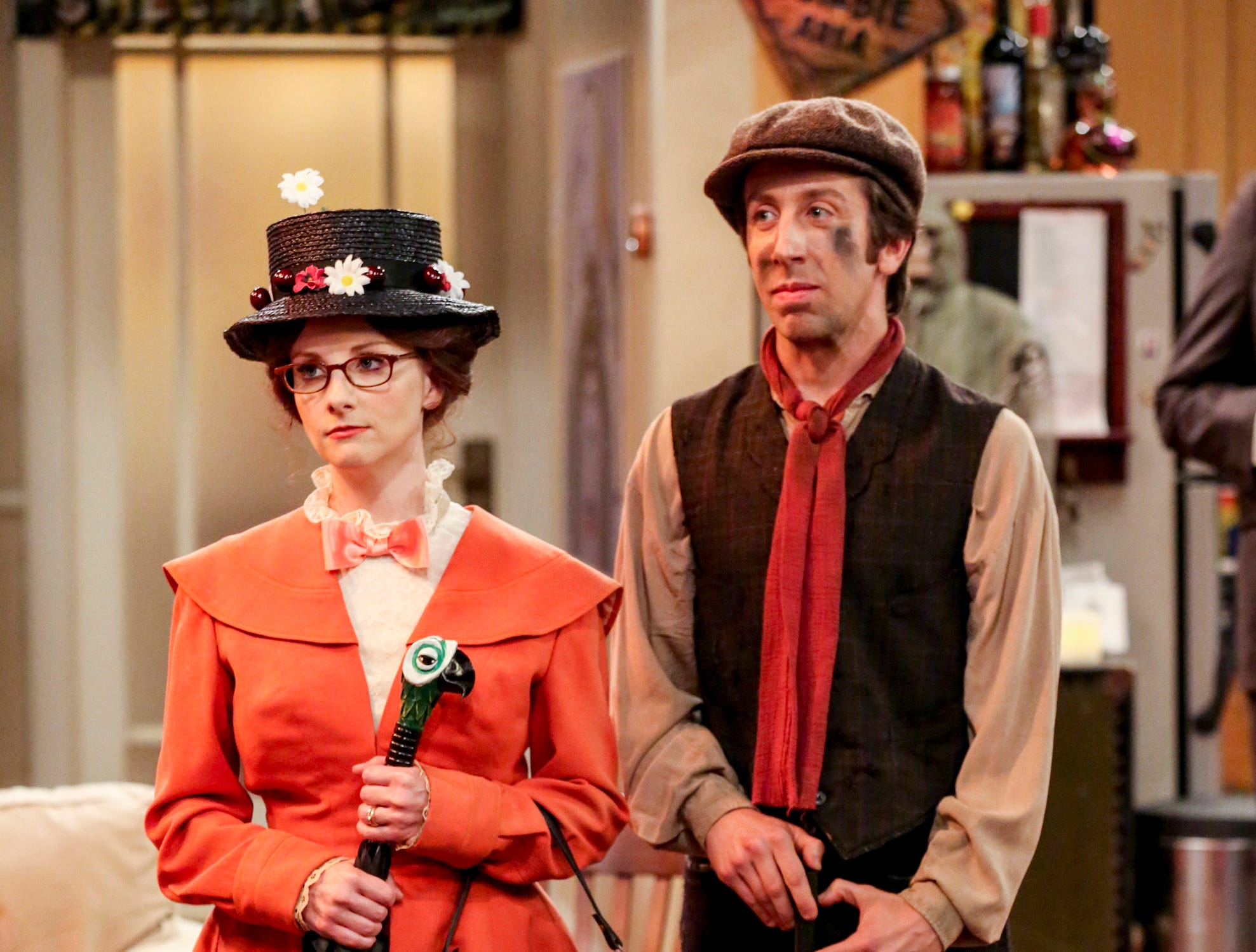 Bernadette (Melissa Rauch) and Howard Wolowitz (Simon Helberg) go even more retro dressing as Mary Poppins and her chimney-sweeping friend, Bert, for Leonard and Penny's party.