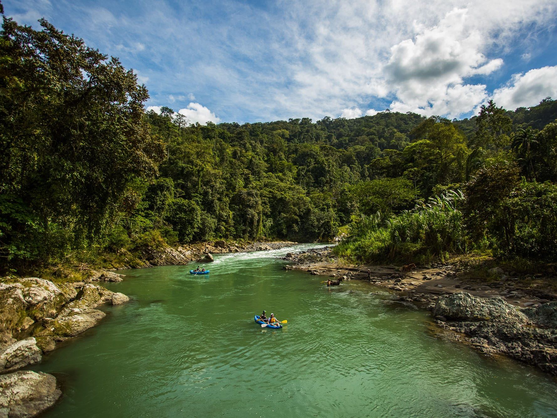 The Pacuare Lodge package includes transportation from San Jose, all meals and an impressive range of activities, such as a tropical canyoning tour, birdwatching excursion or waterfall hike.