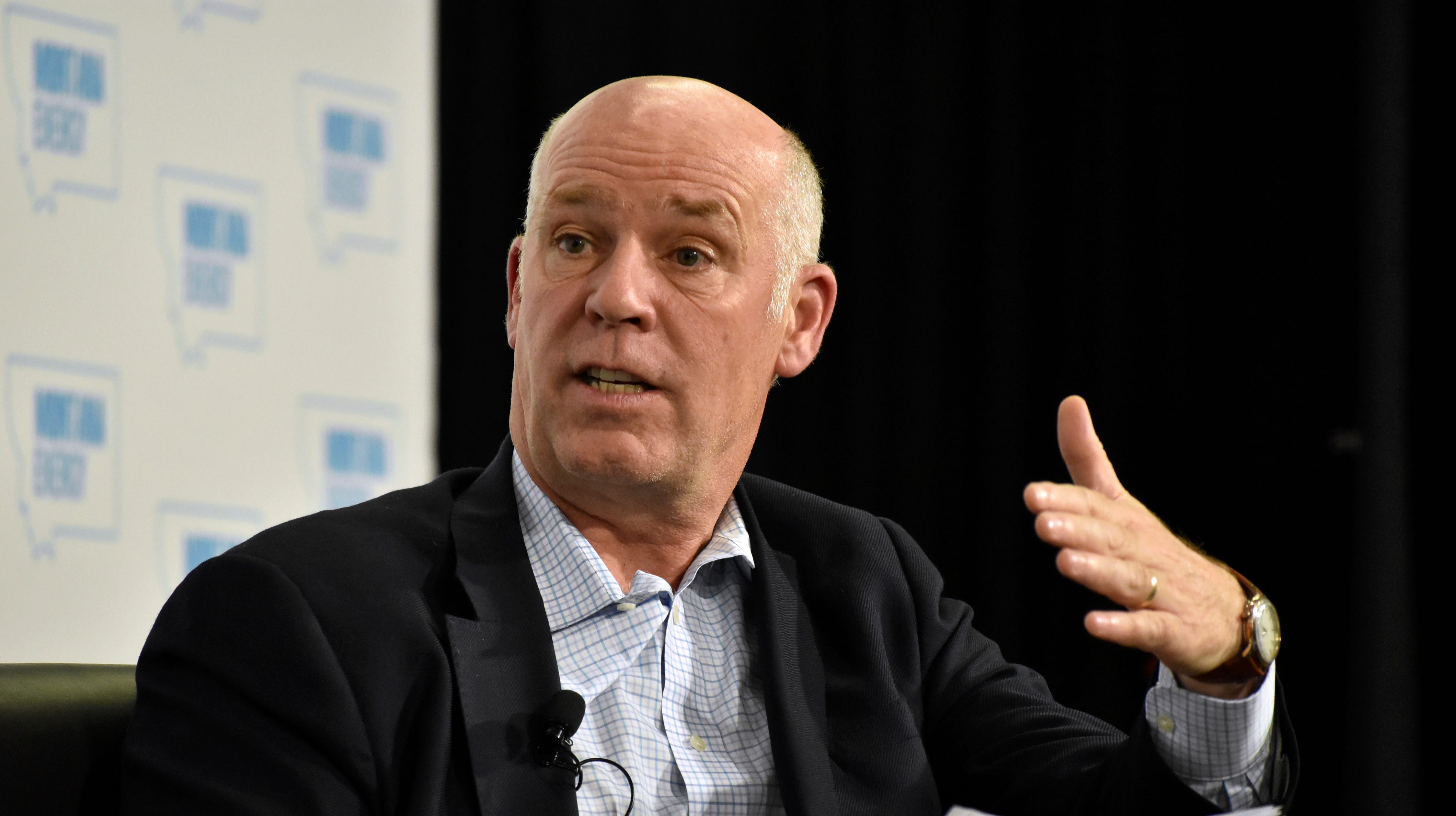 FILE - In this May 31, 2018 photo U.S. Rep. Greg Gianforte speaks about U.S. energy policy at a conference in Billings, Mont.