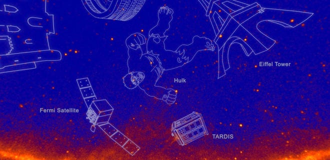 A visual created by NASA depicting gamma ray constellations, including The Hulk and The Eiffel Tower.