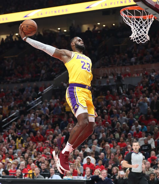 940ce5e48eb Usp Nba Los Angeles Lakers At Portland Trail Blaz S Bkn Usa Or. LeBron  James first ...